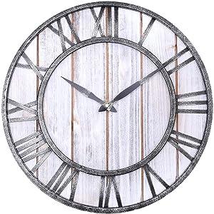 WarmieHomy Wall Clock Rustic Decoration 3D Roman Numerals Atomic Wall Clock,16