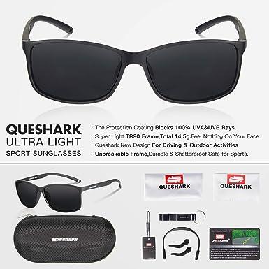 Queshark Gafas de Sol Deportivas Polarizadas Para Hombre Perfectas Para Esquiar Golf Correr Ciclismo 14.5g Ultraligero Para Hombre Mujer