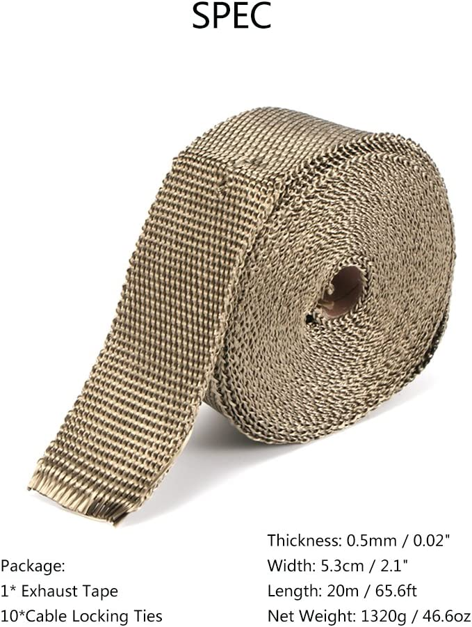 20M x 5cm Car Titanium Exhaust Heat Wrap Roll Tape for Motorcycle with 10 Ties