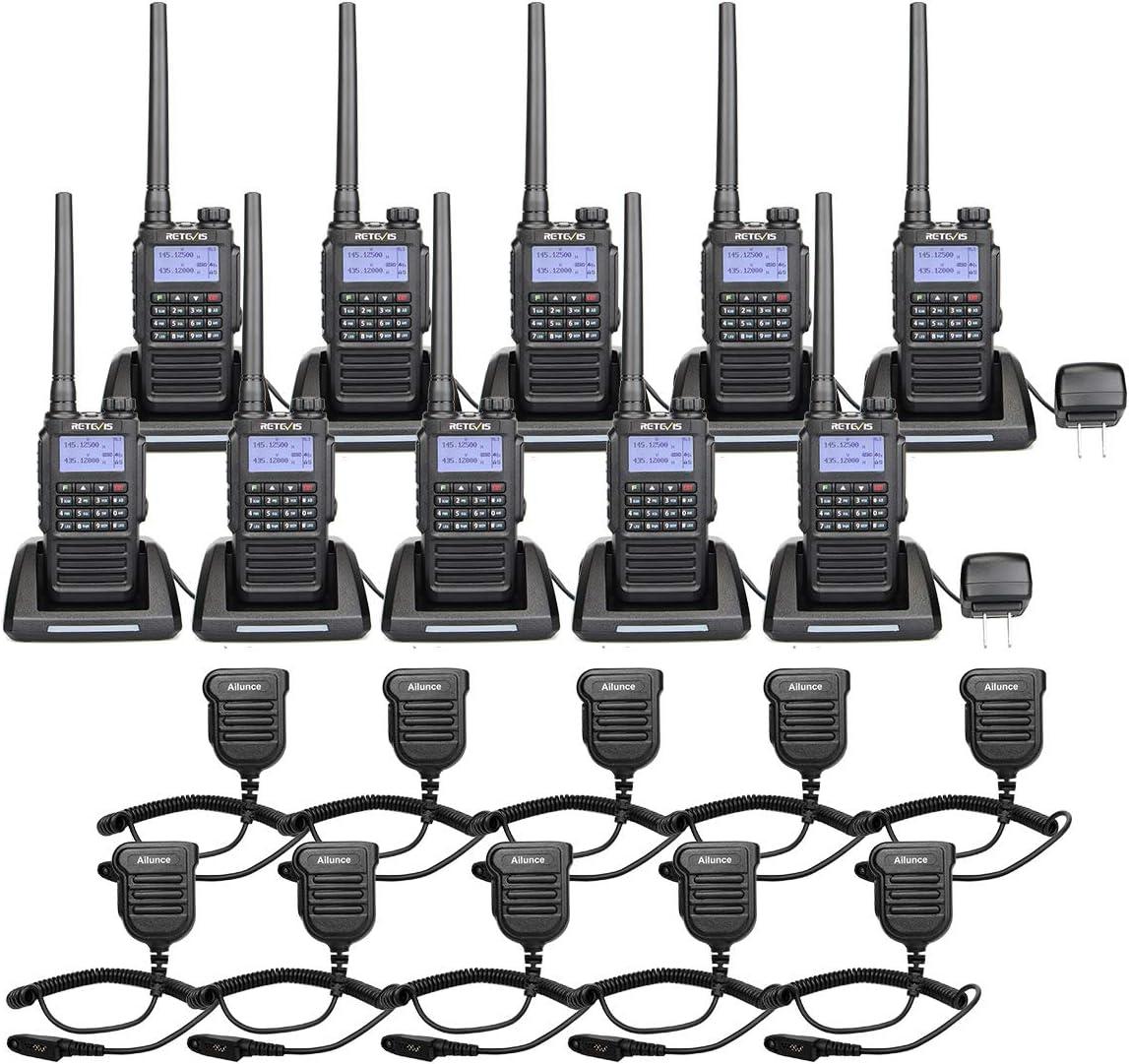 Fall Encryption Walkie Talkies with Waterproof Speak Mic 4 Pack Retevis RT29 2 Way Radios Long Range 3200mAh Heavy Duty High Power Durable Anti