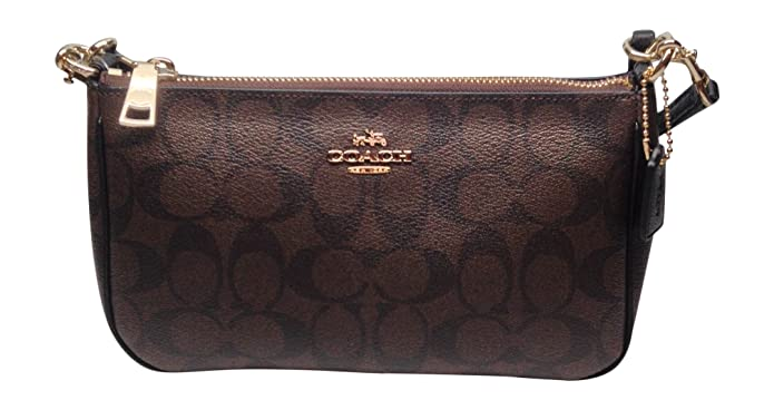 Amazon.com  Coach Womens Top Handle Pouch in Signature Brown Black F36674   Shoes 79fb394499