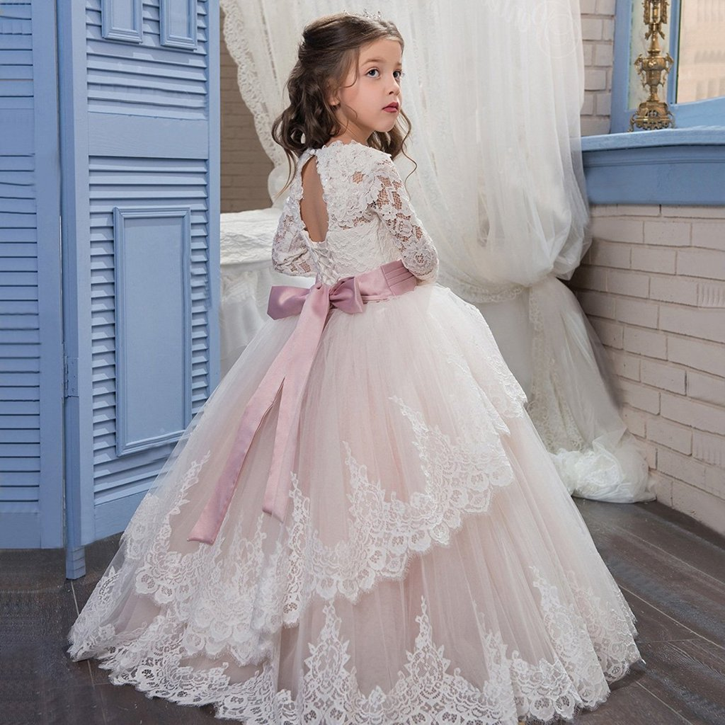 Banfvting Lace Long Sleeves First Communication Dress Kids Birthday Gown With Sash by Banfvting (Image #2)