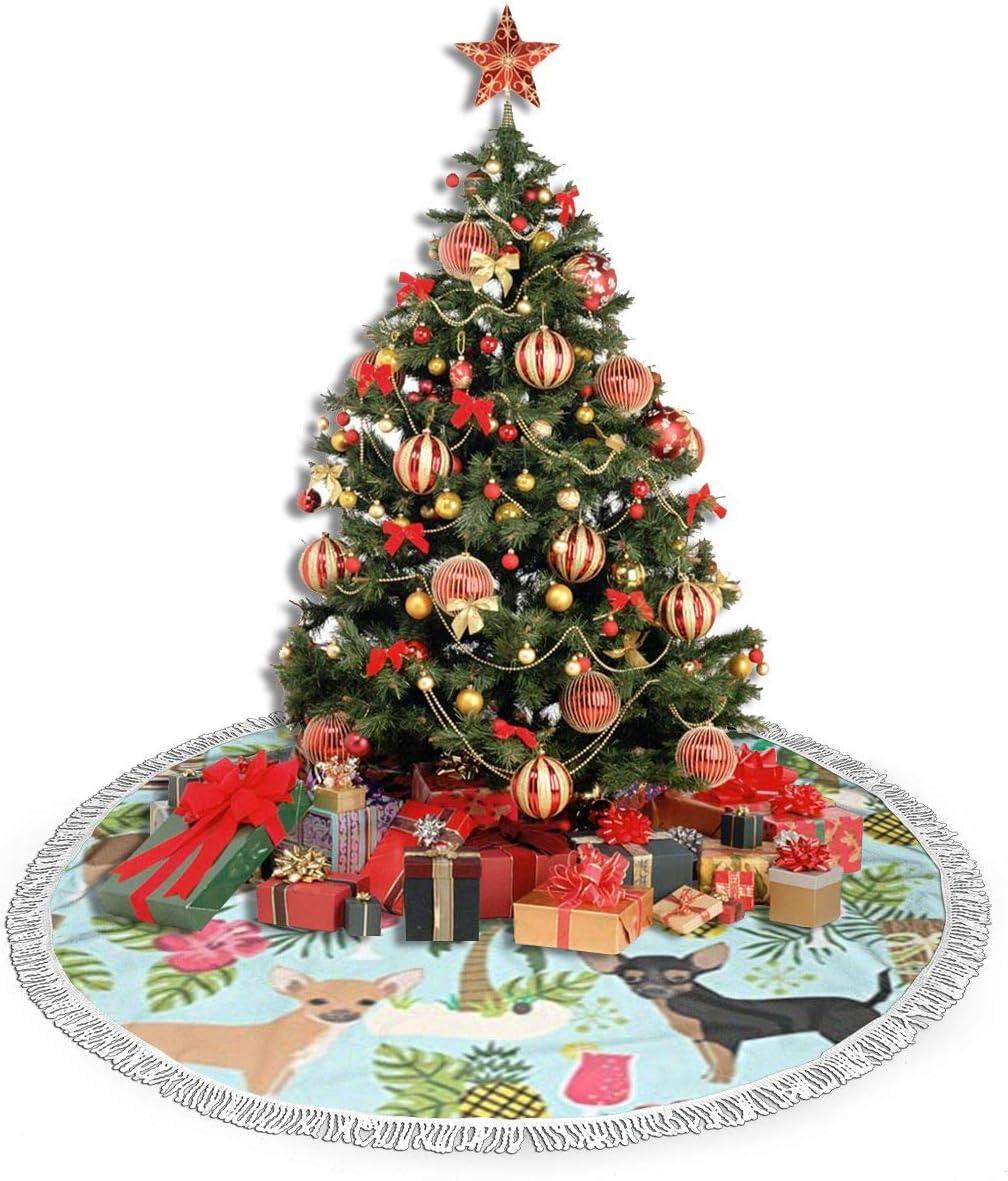 Amazon Com Vgfjhndf Chihuahua Dog Pineapple Printed Christmas Tree Skirt Tree Mat With Tassel Xmas Tree Ornament Christmas Decoration Accessory Home Kitchen