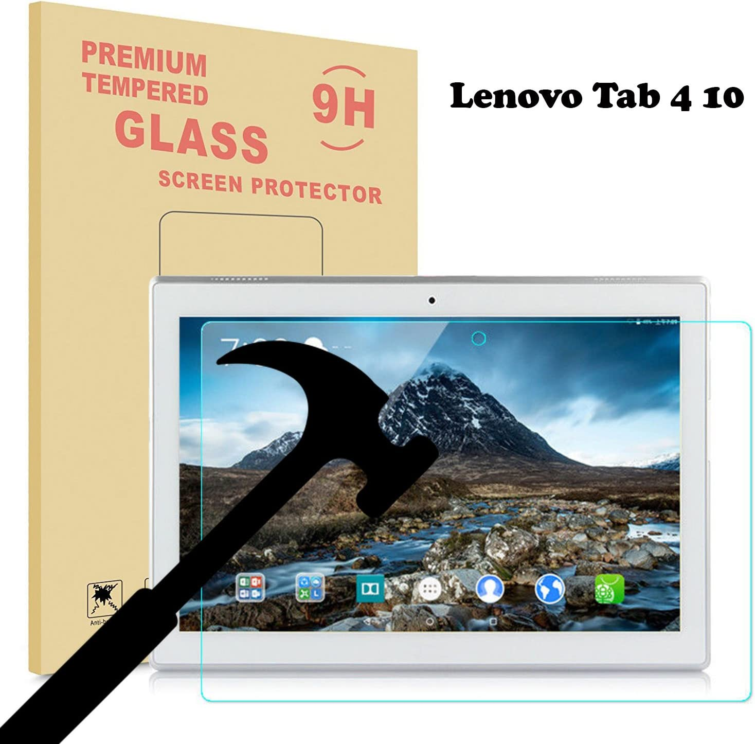 2017 New Lenovo Tab 4 10 Glass Screen Protector, EpicGadget for Lenovo Tab 4 10 Tablet Released in 2017 Ultra HD Clear Anti Bubble Anti Scratch 9H Hardness Tempered Glass Screen Protector