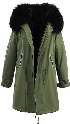 S.ROMZA Abrigo de mujer - Parka con capucha larga y cálida - Cuello de piel de mapache real desmonta...