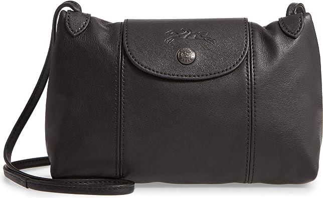 Longchamp Le Pliage Cuir Petit Sac Bandoulière Cuir Noir