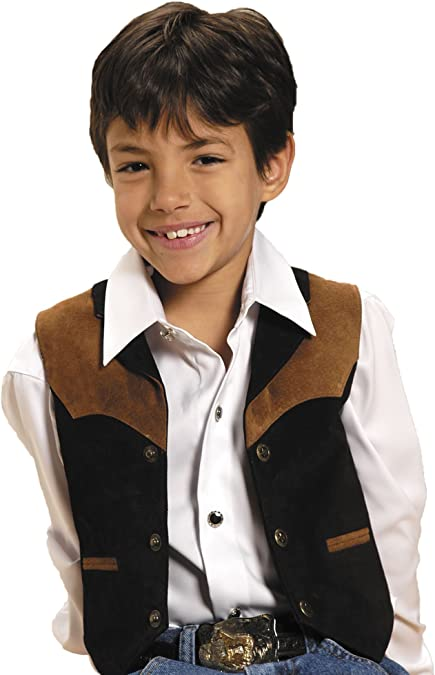 Kid/'s Boy/'s New Scully Western Cowboy Boar Suede Vest Black