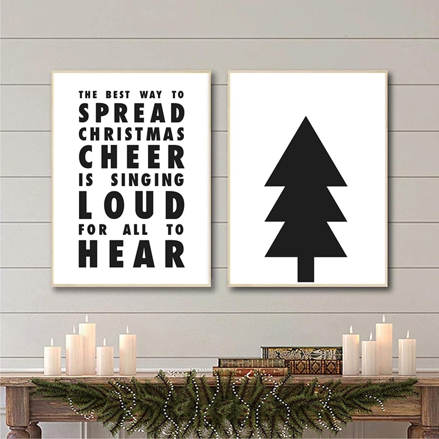 ThinkingPower Minimalist Black and White Painting Christmas Tree Elf Christmas Cheer Quote Prints Canvas Poster Home Living Room Decor (50x70cm) X2 with Frame