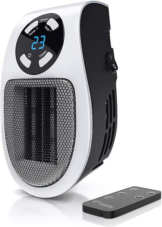 Opinión sobre TSMALL PortáTil Mini Calentador, 500W Calefactor CeráMico, Plug In Enchufe, Mando A Distancia, Temporizador De 1 A 12 Horas,Termostato De 15 A 45 Grados, Adecuado para El Hogar Y La Oficina