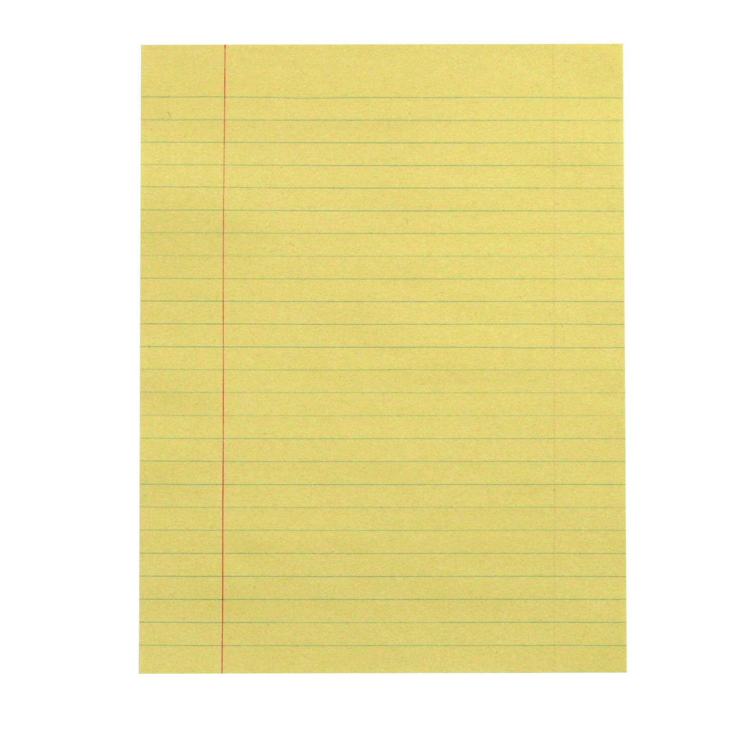 School Smart Theme Paper with Red Margin - 8 in x 10 1/2 in - Pack of 500 - Yellow Newsprint