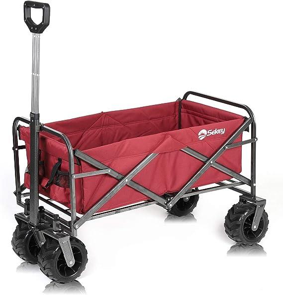 Sekey Carro Plegable Carro de Mano Carrito Playa Carro Transporte para Jardín hasta 120kg 360° Giratorio Apto para Todo Terreno, Rojo: Amazon.es: Jardín