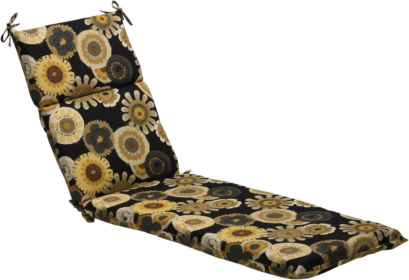 Pillow Perfect Indoor Outdoor Black Yellow Floral Chaise Lounge Cushion