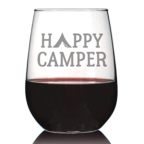 7f93e84773a Amazon.com: Happy Camper – Cute Funny Stemless Wine Glass, Large 17 ...