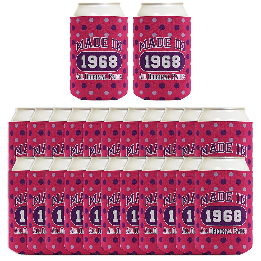 50th Birthday Gift Coolie Made 1968 Can Coolers Coolies 2 Pack Black A-P-BD-44-00-JIT01-02-Black