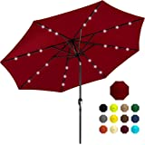 Best Choice Products 10ft Solar Powered Aluminum Polyester LED Lighted Patio Umbrella w/Tilt Adjustment and Fade-Resistant Fa
