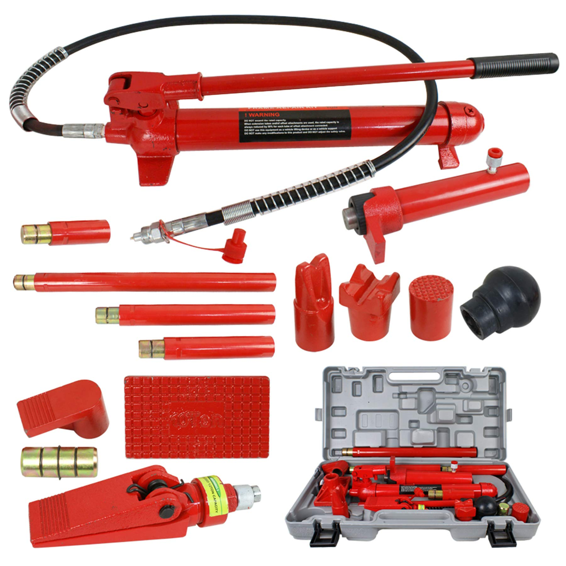 F2C 10 Ton Capacity Porta Power Hydraulic Bottle Jack Ram Pump Auto Body Frame Repair Tool Kit Power Set Auto Tool for Automotive, Truck, Farm and Heavy Equipment/Construction