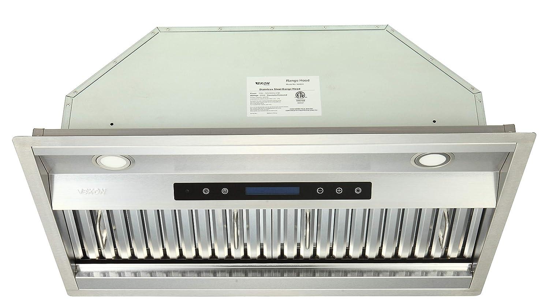 "EKON NAB02-30"" 900CFM Range Hood Insert, Built-in Range Hoods Kitchen Hood with Remote/4 Speeds Touch Control LCD Display, 2pcs Baffle Filters, 2pcs Adjustable Led Lights for Over Kitchen Stove"