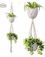 INDRESSME Macrame Plant Hanger Indoor - 4 Pack, in Different Designs, Handmade Cotton Rope Hanging Planter Holders, Garden Patio Balcony Ceiling Decorations Modern Boho Home Décor