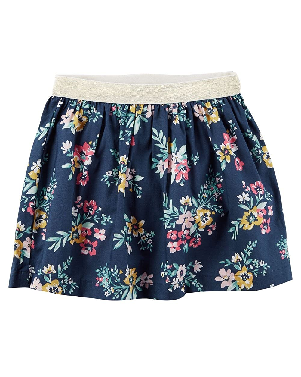 2-Toddler Carters Little Girls Navy Floral Metallic Skirt