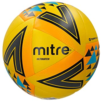 Mitre Unisex Ultimatch Match Football, Yellow/Orange/Blue, Size 3