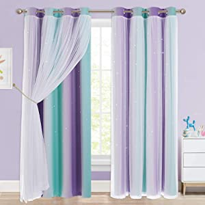 NICETOWN Kids Room Decor for Girls, White Gauze & Blackout Drapes Assembled, Mix & Match Star Cut Curtain Panels with Versatile Styling Options (Teal & Purple, Each is W52 x L84, Sold by 2 PCs)