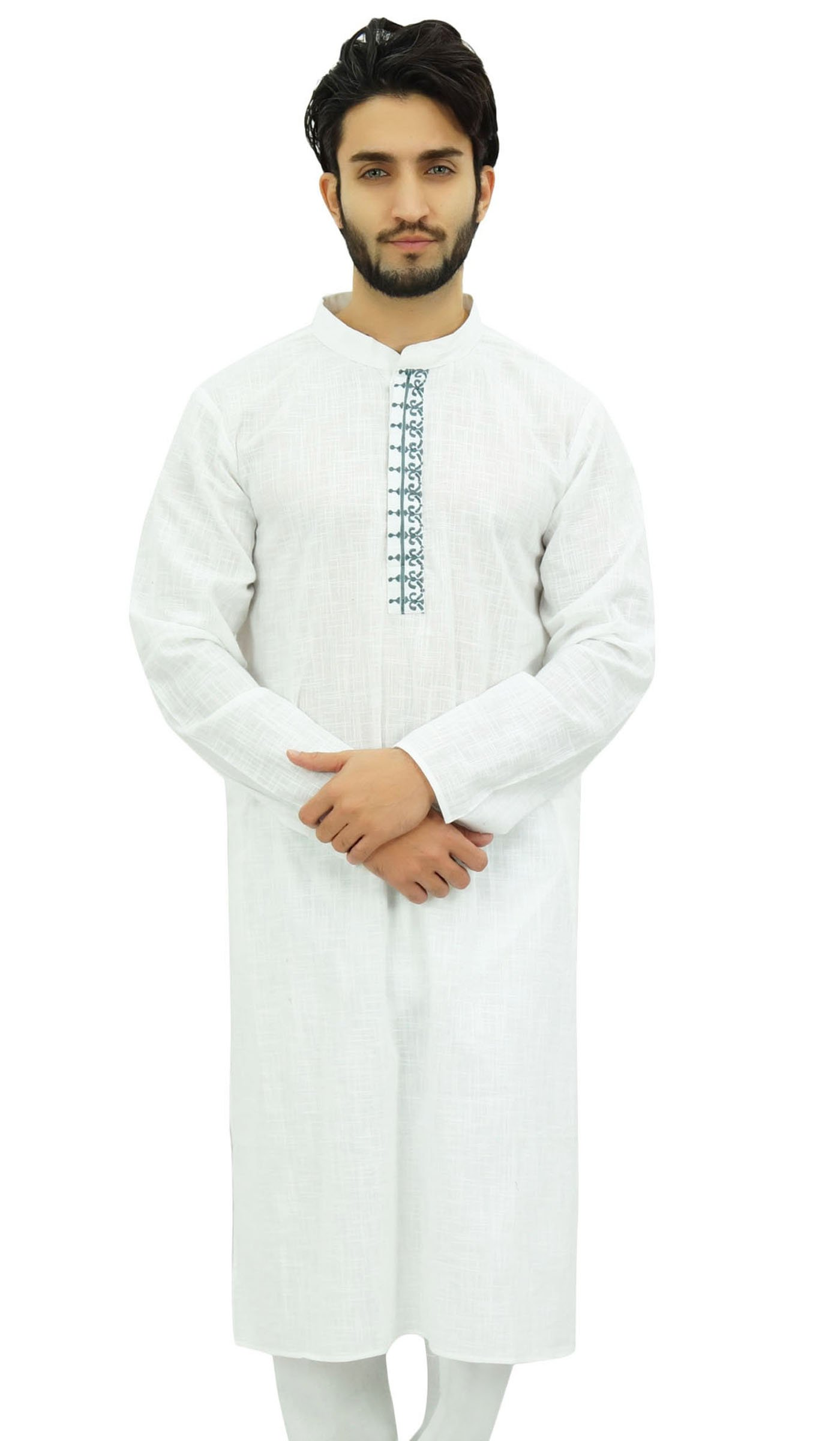 Atasi Men's White Cotton Long Kurta Embroidered Placket Grandad Shirt-XXX-Large
