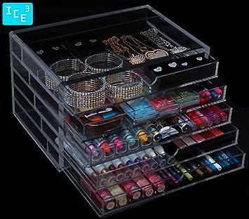Amazoncom Acrylic Makeup Cosmetic Jewelry Organizer 5S Home