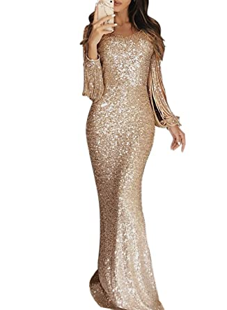 Elapsy Womens Elegant Sequined Tassel Long Sleeve Round Neck Fishtail Mermaid  Evening Bandage Dress Cocktail Gown 6c64b28e14aa