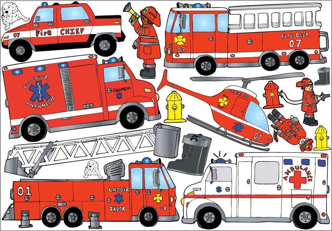 Amazon.com: Fire Truck Firefighter Wall Sticker Decals / Fire Truck Wall  Decor: Home & Kitchen