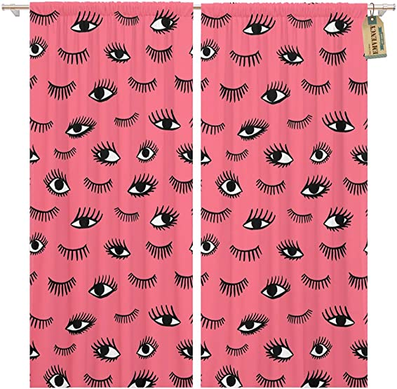 Golee Window Curtain Eye Pink Lips Doodles in Retro Beauty of Open Home Decor Rod Pocket Drapes 2 Panels Curtain 104 x 96 inches