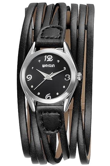 Findtime Relojes Mujer Cuero Negro Marrón Estilo Minimalista Antiguo Analogico Quartz: Amazon.es: Relojes