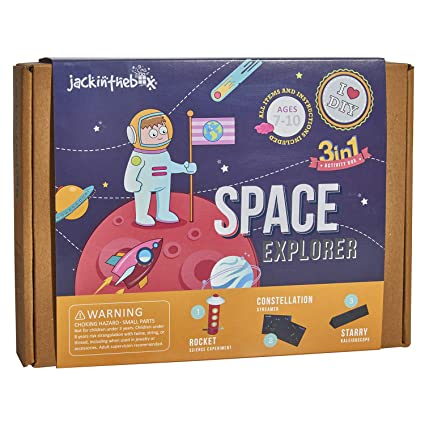 325932936 jackinthebox Space Themed Craft Kit and Educational Toy for Boys and Girls  | 3 Activities-