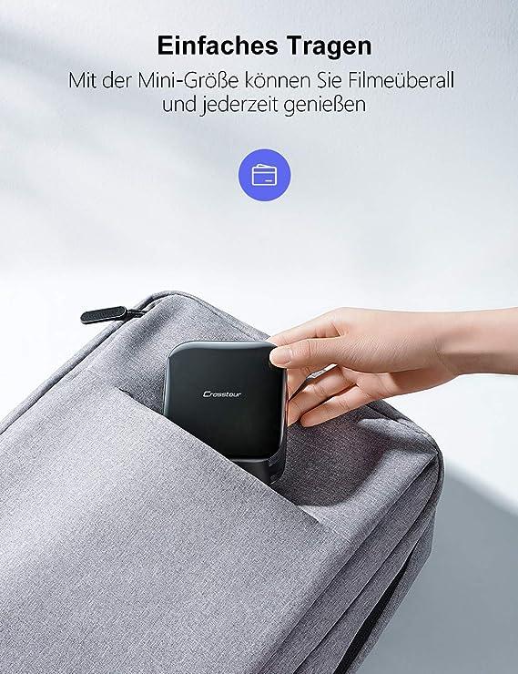 Crosstour Mini proyector Full HD DLP Bolsillos proyector de vídeo con batería de 3000 mAh Compatible con HDMI/portátil/iOS/Android