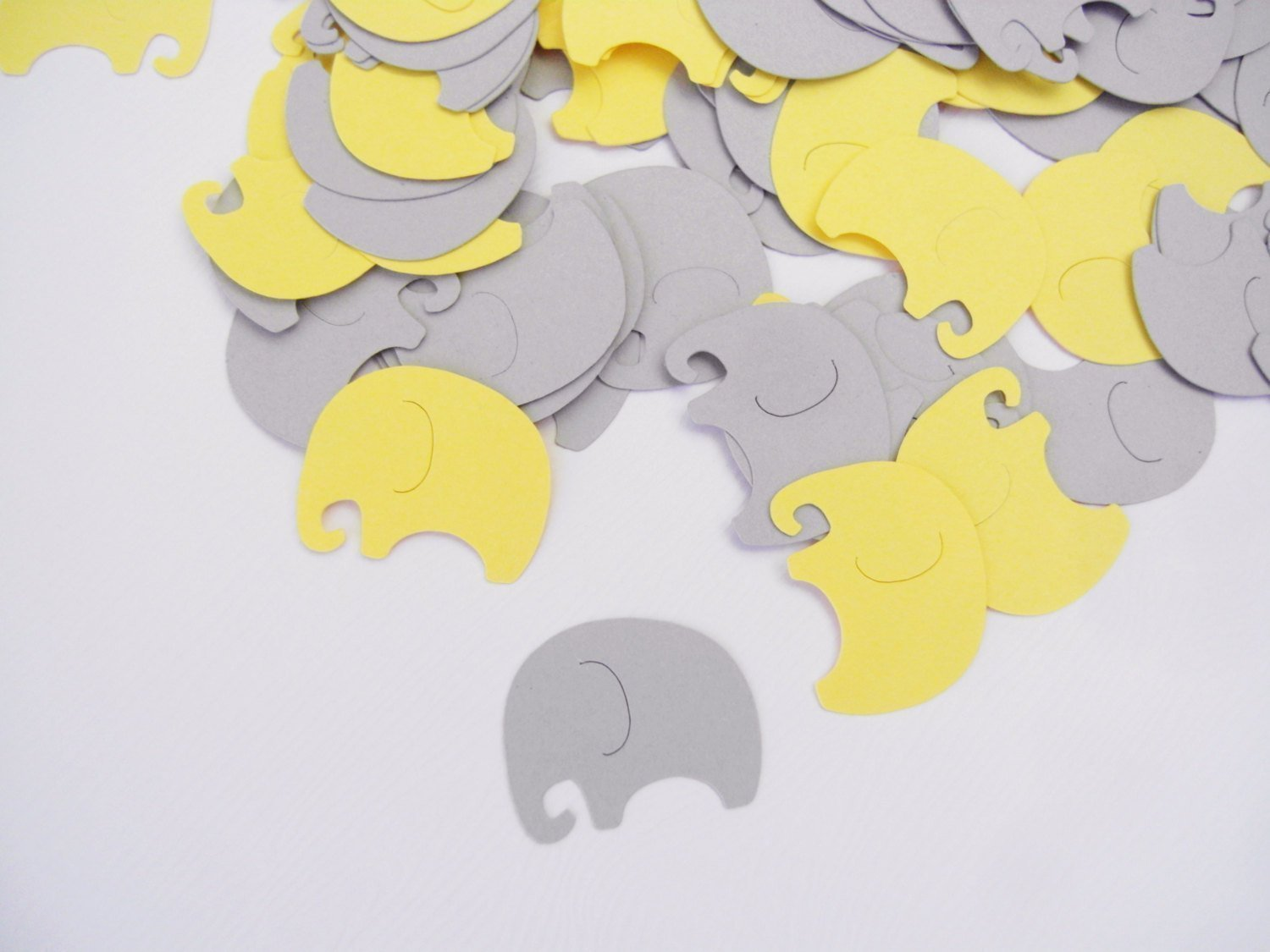 Baby Elephants Table Confetti | 100 pcs | Pastel Yellow and Gray Baby Shower Decoration