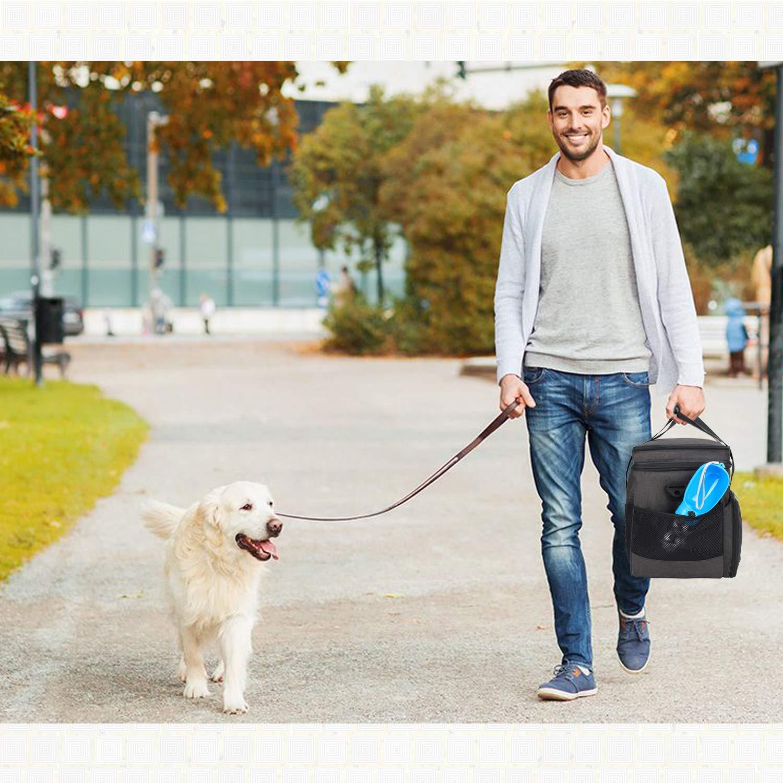 2 contenitori per Alimenti Piccolo, Viola Borsa da Viaggio per Cani con 2 Ciotole Pieghevoli in Silicone 1 Tappetino per Le Ciotole Teamoy Borsa da Viaggio per Dog Gear