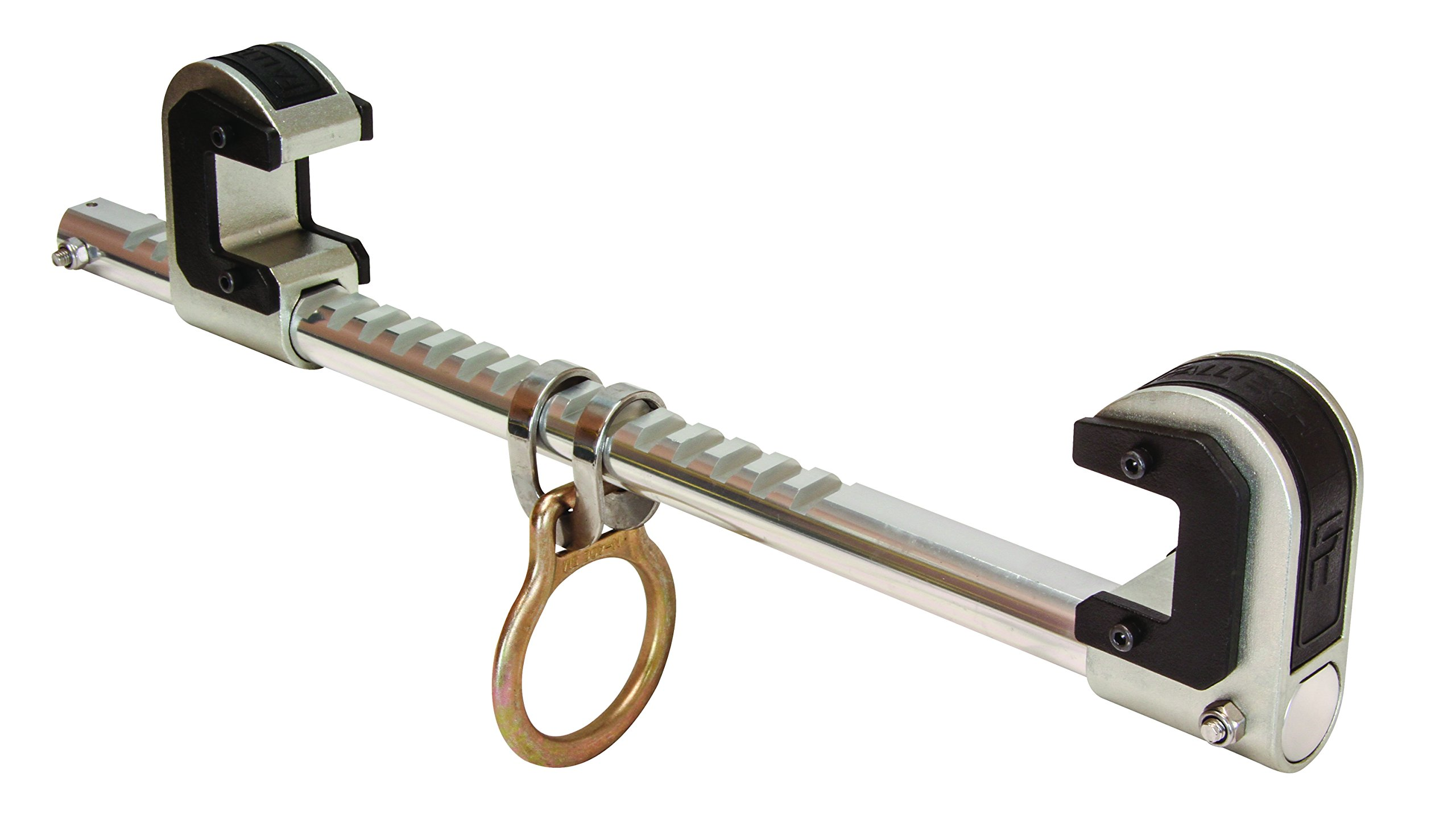 FallTech 7531 Trailing Beam Clamp - Single Ratcheting, Machined Aluminum Bar, Steel Jaws with Slider Pads fits 4'' to 12'' Flange Width, Natural by FallTech (Image #1)
