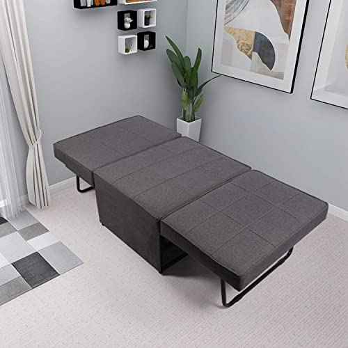 AODAILIHB Modern Sofa Bed Folding Guest Armless Sleeper 4 in 1 Adjustable Multifunctional Couch Bed Cot Sofa Chair Foldable Ottoman Guest Sofa Chair Gray