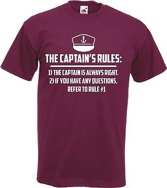356fef346d Captain Rules Funny Boat Skipper Sailing T-Shirt Gift Boating Yacht:  Amazon.co.uk: Clothing