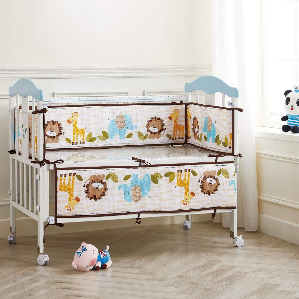 Wowelife Jungle Baby Bumper Pads Lion Elephant and Giraffe Crib Bumper Pads Safe for Baby(Brown Zoo)