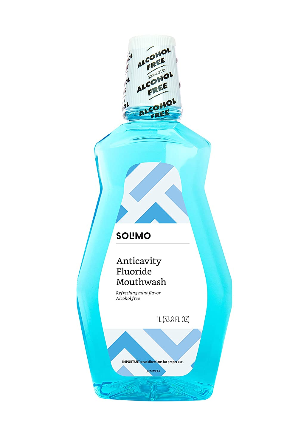 Amazon Brand - Solimo Anticavity Fluoride Mouthwash, Alcohol Free, Refreshing Mint, 1 Liter