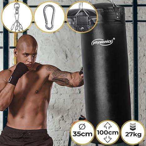 Peso 27 kg Fitness Boxe incluso Catena da Soffitto a 4 Punti e Moschettone Sport Altezza 100 cm Kickboxing Muay Thai Taekwando /Ø35 cm Arti Marziali Pieno MMA Sacco da Boxe per gli Adulti
