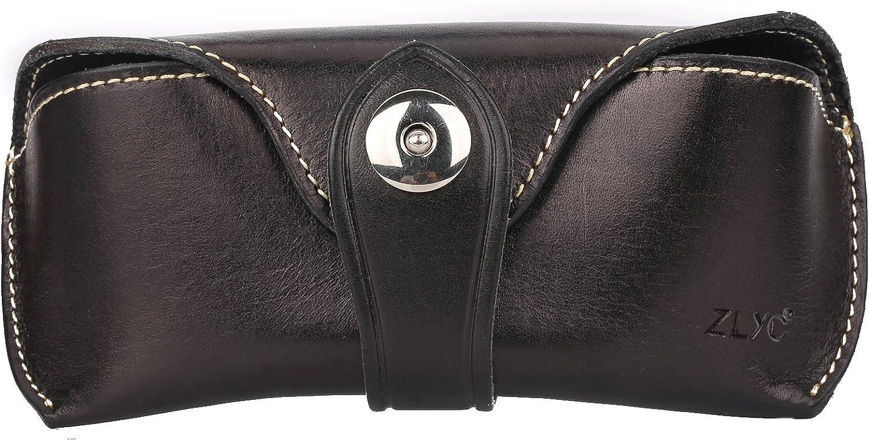 ZLYC Unisex Handmade Leather Collection Hard Eyeglass Case