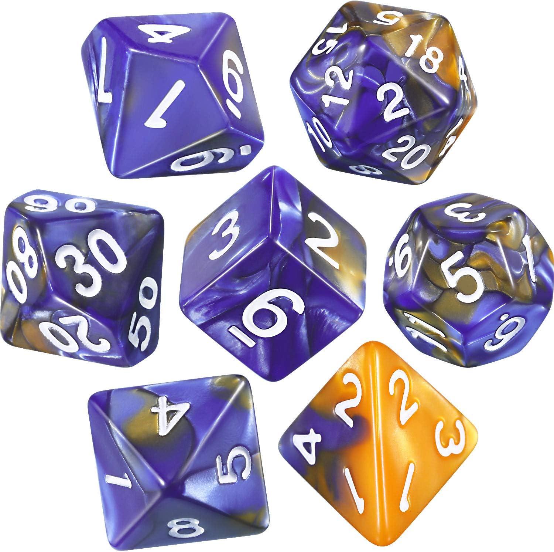 eBoot Dados Poliédricos Set de 7-Dados para Dungeons y Dragons con Bolsa Negra (Azul Dorado)