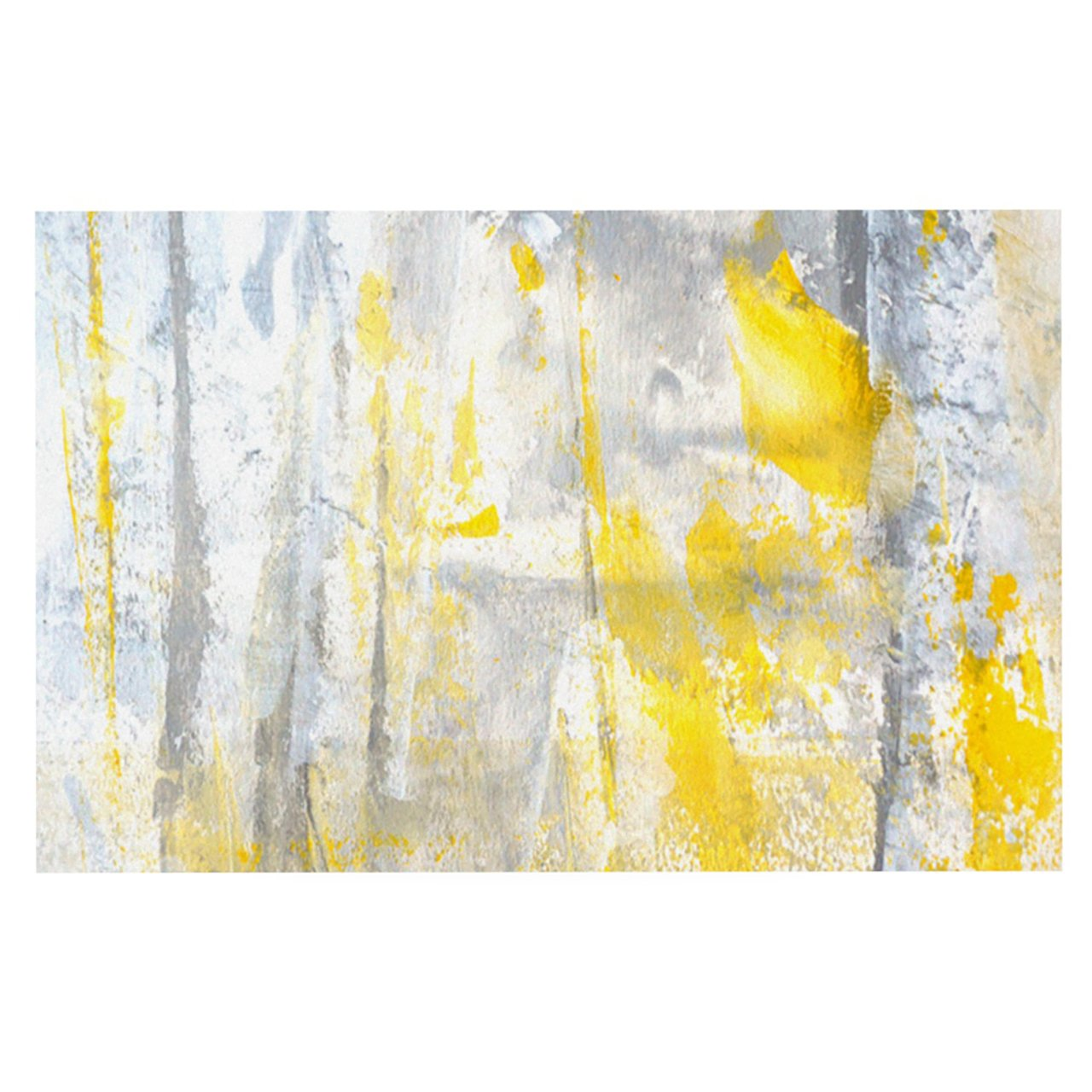 Kess InHouse CarolLynn Tice ''Abstraction'' Grey Yellow Feeding Mat for Pet Bowl, 18 by 13-Inch