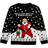 Tstars - I Touch My Elf Ugly Christmas Sweater Funny Unisex Xmas Sweater