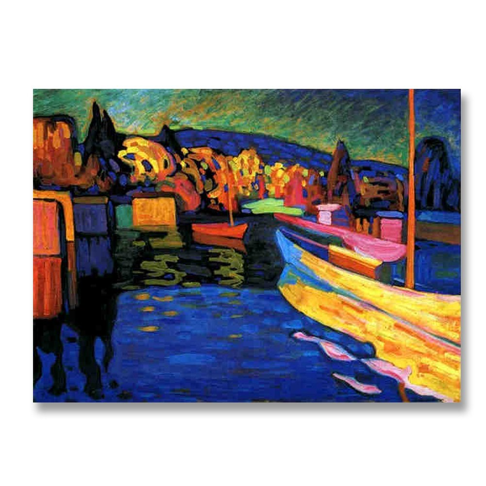 Wassily Kandinsky Autumn Landscape with Boats 1908 Original Landscape Canvas Paintings Hand Painted Reproduction Unframed Tablet - 36X26 inch (91X66 cm) for Living Room Wall Decor To DIY Frame