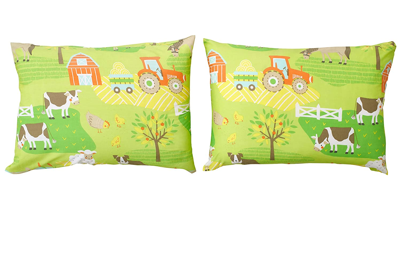 Bloomsbury Mill - Juego de sábanas con estampado de tractores y animales de granja, algodón poliéster, Juego de cama individual