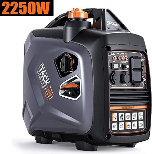 TACKLIFE Portable Inverter Generator, 2250-Watt Quiet Generator with Four-Stroke Engine, Forced air-Cooled, Overhead Valve, EPA Compliant, Eco Mode for Outdoor RV Van Camping and Home-Use