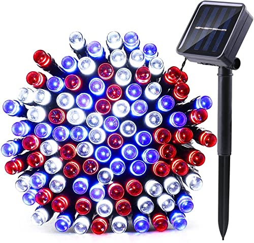 Qedertek Solar String Lights, 39ft 100 LED 8 Mode Decorative Lighting for Independence Day, Patio, Lawn, Garden, Wedding, Party, Home and Holiday Decorations Red White Blue