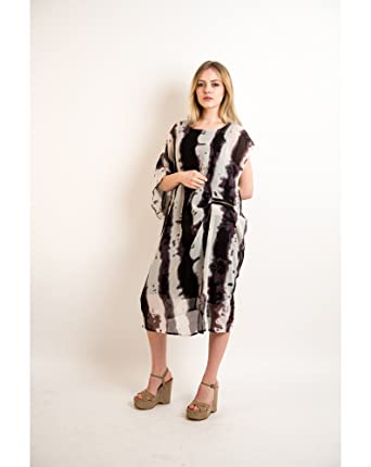 3a7f298461d black and cream contrast print chiffon oversized long tunic shift midi  dress relaxed fit  Amazon.co.uk  Clothing
